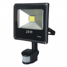 Proiector LED cu senzor 20 W slim, lumina alba rece