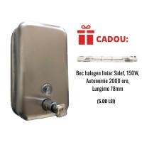 Dispenser inox sapun lichid 1000ml + CADOU Bec halogen liniar 150W