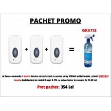 PACHET PROMO - 3 BUCATI DOZATOR DEZINFECTANT CU SENZOR SPRAY 1000ML + GRATUIT 1 BUCATA DEZINFECTANT DE MAINI K-SEPT 0.75L CU PULVERIZATOR